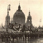 Unter den Linden was the ideal place for a parade. Here we see teh National Socialits marching past the Berliner Dom