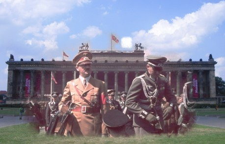 berlin now and then battle of berlin Altes Museum Hitler walking to car