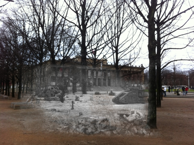 berlin now and then bberlinbefore and after battle of berlin  Altes Museum UK tank