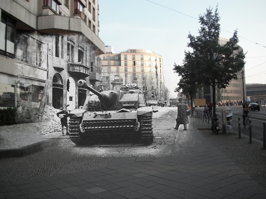 Berlin now and then Friedrichstraße tank