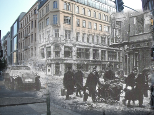 Berlin now and then battle of berlin Mitte Friedrichstrasse Rheinhardtstrasse Sd.Kfz