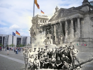 Berlin before and after Reichstag Russian Soldiers from right