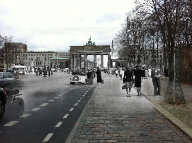Berlin Now and Then Battle of Berlin Brandenburg Gate Black Market