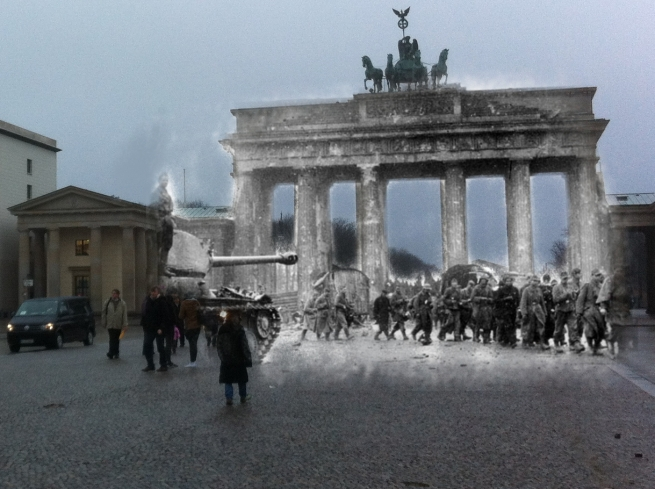Berlin Now and Then Battle of Berlin Brandenburg Gate World War 2 POW