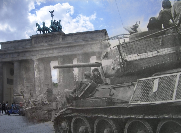 Berlin Now and Then Battle of Berlin Brandenburg Gate World War 2 T34