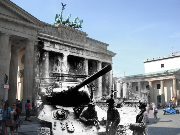 Berlin Now and Then Battle of Berlin Brandenburg Gate World War 2 T-34